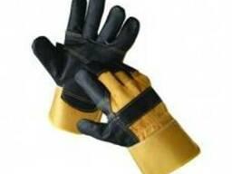 Перчатки комбинированные х/б кожа