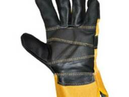 Перчатки комбинированные, перчатки х/б-кожа (хром)