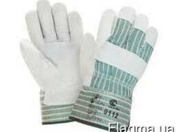 Перчатки комбинированные, спилок х\б,цельный наладонник
