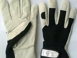 Перчатки кожаные белые мягкие, вставки сетки
