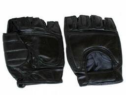 Перчатки кожаные без пальцев спортивные черные
