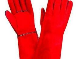 Перчатки (Краги) сварочные красные / спилковые «Трек»