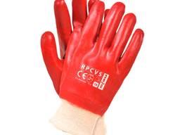 Перчатки красные ПВХ вязаный манжет Масло и бензо стойкие