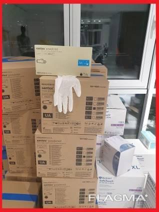 Перчатки медицинские одноразовые, перчатки латексные S, M, L, XL