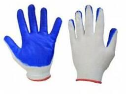 Латексные перчатки трикотажные вязанные облиты латексом