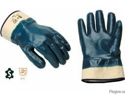 Перчатки покрытые нитрилом с жестким манжетом-крагой