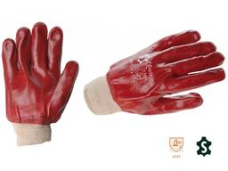 Перчатки пвх с трикотажным манжетом.