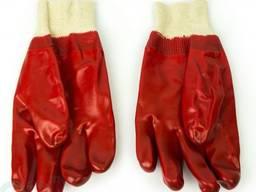 Перчатки рабочие полный гладкий облив ПВХ, вязаный манжет