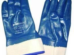 Перчатки рабочие с нитрильным покрытием и жестким манжетом