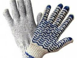Перчатки с ПВХ- точкой, рабочие, усиленные