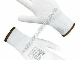 Перчатки синтетические белые с белым полиуретановым покрытием 9 размер