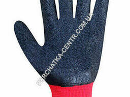 Перчатки синтетические красные с черным неполным вспененным латексным покрытием 8 размер