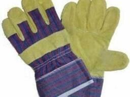 Перчатки комбинированные, рабочие спилок х\б