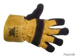 Перчатки спилковые, комбинированные Ангара