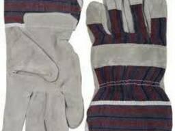 Перчатки спилковые комбинированные, средства защиты, краги, в