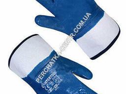 Перчатки трикотажные с нитриловым покрытием жесткий манжет синие