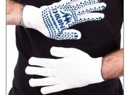 Перчатки трикотажные с ПВХ точкой белые