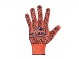 Перчатки трикотажные с ПВХ точкой Doloni 526 оранжевые