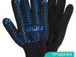 Перчатки трикотажные с ПВХ точкой р10 Актив (черные) Sigma (9442471)