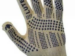 Перчатки трикотажные уплотненные с ПВХ-точкой (3 нити)4