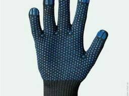 Перчатки вязаные трикотажные с ПВХ точкой