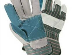 Перчатки защитные комбинированные х/б спилок усиленные.