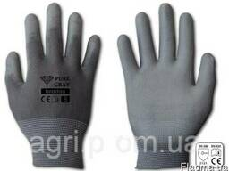 Перчатки защитные PURE GRAY полиуретан, размер 7, 8, 9, 10