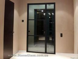 Перегородка лофт с распашными дверями StoneGlass