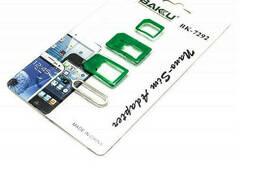 Переходник для SIM карт Bakku BK-7292 3 в 1, micro-nano, micro-sim, nano-sim, Green. ..