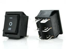 Переключатель ON-OFF KCD1-106, 250VAC / 15A, 6 контактов, Black, Q50 ( 246*170*41 ). ..