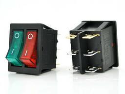 Переключатель ON-ON KCD4-212N, 250VAC / 15A, 6 контактов, Red/Green, Q50 ( 245*170*41 ). ..
