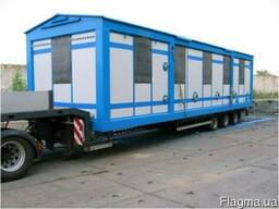 Перевозка вагончиков бытовок павильонов вагонов на платформе