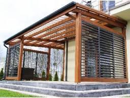 Пергола деревянная к дому современного дизайна от производст