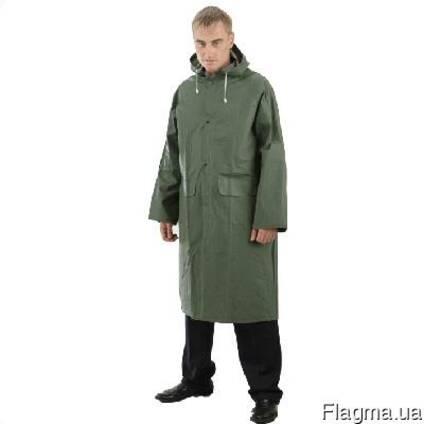 Плащ ПВХ, два кармана, капюшон, длина 120см, зеленый