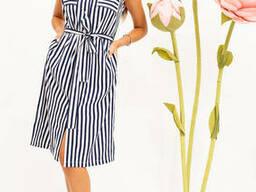 Платье-рубашка жен 102R067 цвет Сине-белый