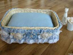 """Плетеный лежак для собак """"Голубой прованс"""""""