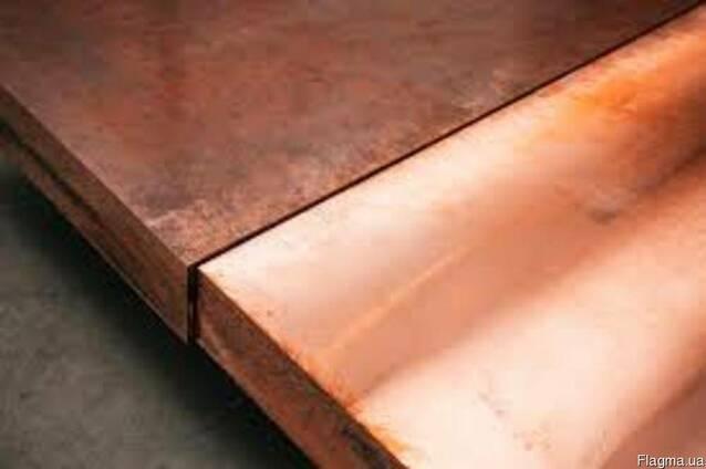 Плиты медные М2-М-3, толщиной 20-95 мм