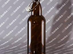 Пляшка скляна 1, 0 л з бугельною кришкою коричнева 20 шт