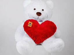 Плюшевый мишка с сердцем Yarokuz Бенжамин 135 см Белый