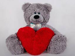 Плюшевый мишка с сердечком Yarokuz Джеймс 65 см Серый