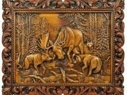 Подарочное панно ручной работы «Битва с волками»