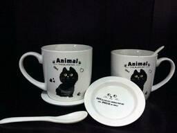 """Подарочный набор """"Черный кот""""(2 чашки, крышки, ложки)"""