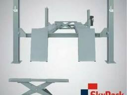 Подъемник 4 стоечный Sky Rack 4050, траверсы круги пластины