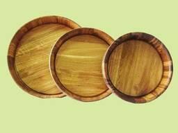 Подносы деревянные D=270 мм,350мм., 450 мм.