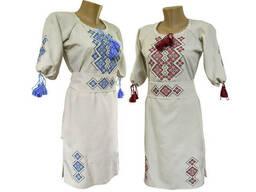 Подростковое вышитое платье из льна с коротким рукавом и вышивкой на груди «Праздничная»