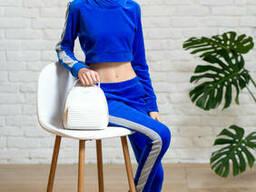 Подростковый спортивный костюм с укороченной кофтой худи для девочки синего цвета 40