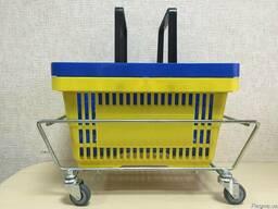 Кошик 22 л, корзинка для покупця 22л з пластику, дві ручки.