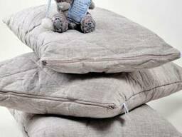 Подушка стеганая льняная с льняным наполнителем
