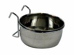 Подвесная кормушка или поилка металлическая на крючках 150мл 7,5 см