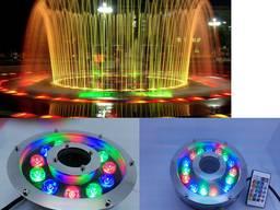 Подводный прожектор светильник фонарь RGB 12Вт IP68 с пультом для фонтана бассейна водоема